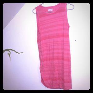 Pink sun dress striped tank